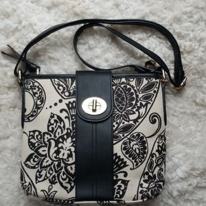 Spartina 449 Black & Crm Linen/Leather Crossbody